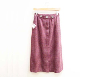 Vintage 1950s Skirt | Pink and Brown Woven Wool 1950s Pencil Skirt | size small
