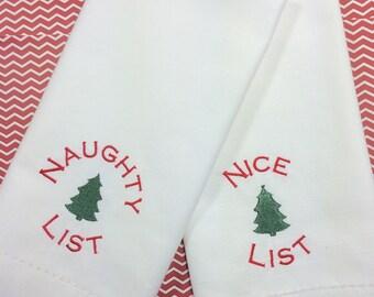 Naughty List and Nice List Napkins, /set of 4/, Christmas napkins, Funny Christmas Napkins, naughty list gift, Christmas gift, hostess gift