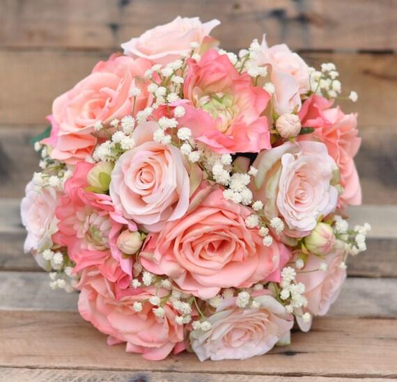 Peach Rose Wedding Bouquet Silk Flower By Hollysflowershoppe