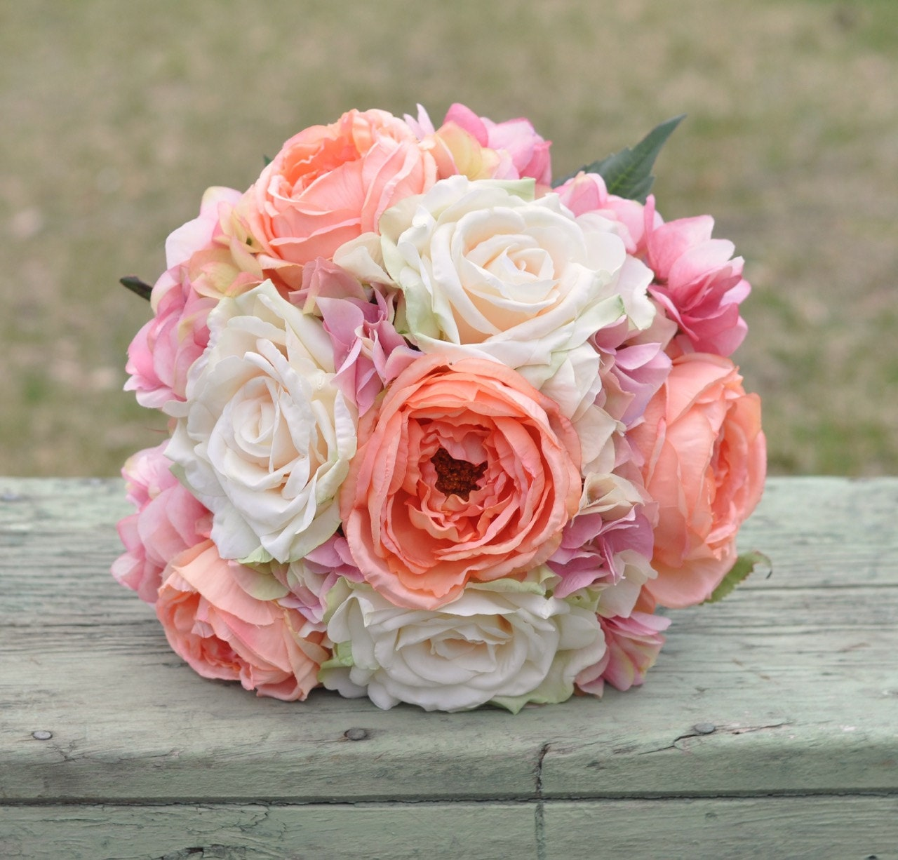 Coral And Pink Wedding Flowers: Coral Rose Blush Rose And Pink Hydrangea Wedding Bouquet Made