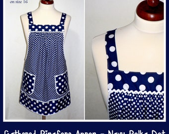 "Loose Fitting Pinafore Apron, ""no tie apron"" - Navy Polka Dot Smock Apron - all day apron, made-to-order XS to Plus Size"