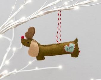 Personalised Rudolf Sausage Dog Decoration - Dachshund Christmas Oranament - Dog Christmas Decoration - Cute Sausage Dog