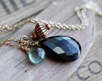 Long Moss Aquamarine and Black Onyx Necklace, March Birthstone Necklace Statement Necklace Long Black Gold Moss Aquamarine Black Onyx