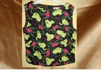 Vintage Preppy Lilly Pulitzer cheetah or leopard cat print sleeveless top size M black lime green and hot pink *eb