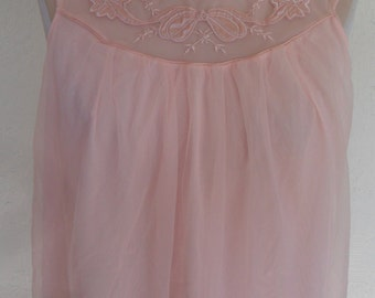 Vintage Nightgown Gown Peach Chiffon Aristocraft by Superior Large