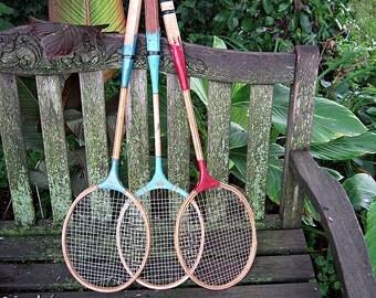 Vintage WOOD BADMINTON RACKET Set/3 RUSTiC Racquet Sports Decor Man Cave Den Office
