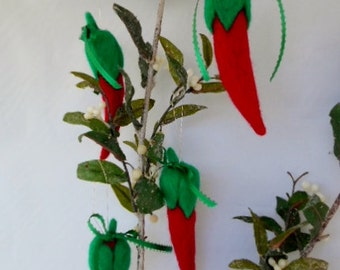 """handmade Needle Felted Red Chilies- set of 4-""""Tidings from Taos"""""""