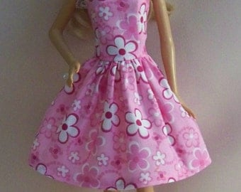 Handmade Barbie Doll Clothes- Pink Print with White Flowers Barbie Dress