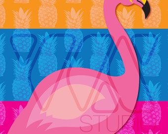 Pin the Tail on the Flamingo -  Animal Theme Party Game - Children or Adults - Illustration, Pineapple, Pattern, Luau, Florida