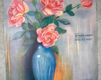 PINK ROSES Vintage Sheet Music I'll Bring a Rose by Coburn & Rose MANNING Pastel Color