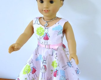 """1827 Wide Neck Full Circle Skirt Dress, 50s Style Dress, Bonus Blouse, Pattern, 18"""" doll clothes, American Girl Doll, Instant Download"""