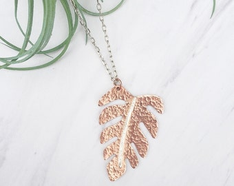 Tropical Leaf Necklace | Copper Jewelry | Palm Leaf Necklace