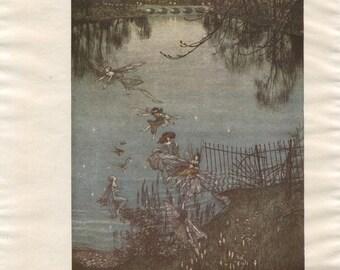 Vintage Print The Serpentine by Arthur Rackham from Peter Pan in Kensington Gardens