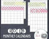 2016 Monthly Calendars {Polka Dot Edition} - Printable PDF / PPT
