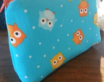 Zipper Pouch - Turquoise Owls
