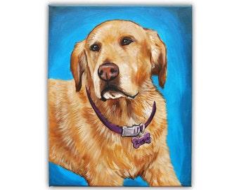 "12x16"" Custom Dog Portrait / Custom Portrait 1 Pet Gradient background Original Painting Memorial Golden Retriever Labrador Shih Tzu Art"