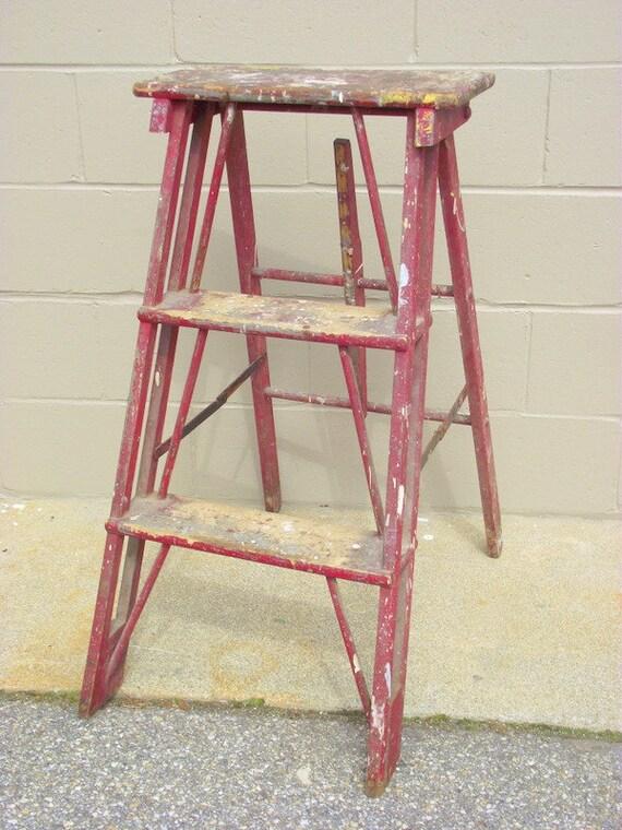 Antique wood folding step ladder primitive industrial shelf - Reclaimed wood ladder shelf ...
