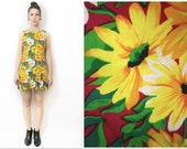 Bright Festival Floral Vintage 90s Cut Out Back Mini Dress Small