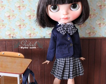 Girlish - Deep Blue School Uniform outfit set for Blythe doll - dress / outfit