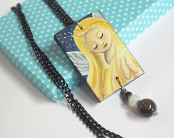 ON SALE Handmade Fairy Art Jewelry, Hand Painted Wooden Pendant with Chain Necklace, Collectible Fairy Painting Jewelry