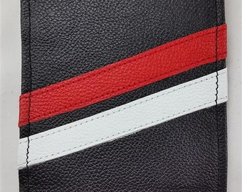 Custom Black Red And White Hand Made Leather Golf Scorecard Yardage Book Holder Cover
