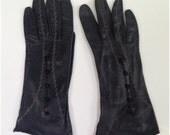 Vintage 1930s 1940s Black Leather Embroidery Wrist Length / Art Deco XS