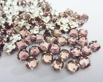 50 vintage sew on rhinestones, Ø5mm, amethyst mix, round