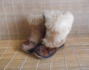 Vintage Lady's Zip Up Winter Pony Boots Size: EUR 36 US Woman 6
