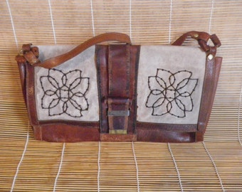 Vintage Lady's Brown Leather Medium Size Hand Bag Shoulder Purse