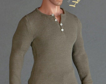 1/6th scale XXL henley shirt for: Hot Toys TTM 20 size bigger action figures and male fashion dolls