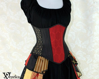 "Steampunk Black and Red Patchwork Steel Boned Waspie Corset w/Solid Front -- Corset Size 38, Fits Waist 41""-43"" -- Ready to Ship"