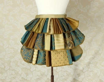"Patchwork Ruffle Bustle Overskirt - 3 Layer, Sz. XS - Teal & Gold - Best Fits Up to 34"" Waist or Upper Hip"
