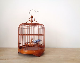 Vintage Bamboo Birdcage with Two Porcelain Feeding Bowls - Asian Oriental Chinoiserie Bird Cage