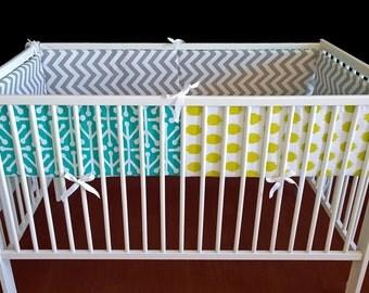 Multi Color Pattern Cot Crib Bumper
