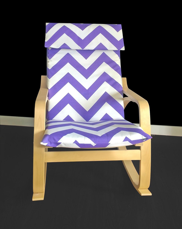 Purple zig zag poang chair cover purple chevron ikea poang for Miroir zig zag ikea