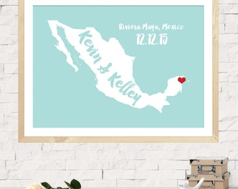 Wedding Guest Book, Custom Wedding Map, Alternative Wedding Guestbook, Unique Wedding Guestbook, Personalized Mexico Name Map - Any State