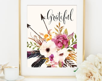 Grateful Print, Unique Gift Idea for Her, Gift for Mom, Home Office Decor, Tribal Wall Art, Fall Home Decor, Feathers Flowers Tribal Print