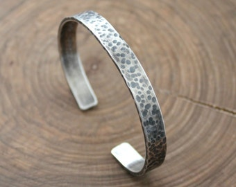 Men's Cuff, Personalized Men's Bracelet, Sterling Silver, Custom Message Cuff, Hammered & Rustic, Hand Stamped Men's Bracelet - Ed Bracelet