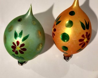 Vintage Blown Glass Christmas Ornaments TearDrop Oval Fancy Poland Hand Painted Decorated Flowers Polka Dots