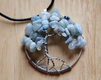 "Aquamarine Tree of Life pendant / necklace - 45mm / 1.75"" - with leather necklace"
