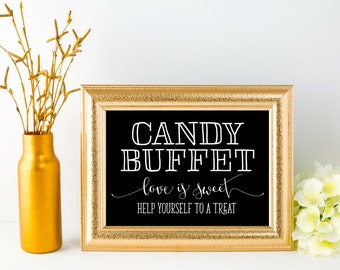 Candy Buffet Sign, Wedding, INSTANT DOWNLOAD, Printable Digital File, Hand Drawn, Calligraphy, Black and White, 5x7