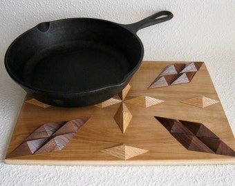 Woodwork Hot Pad.  Wood Trivet. 3 D hardwood cooling rack.  Kitchen decor or centerpiece