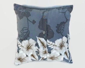 White Tropical Flowers on Grey Shirt Accent Throw Pillow Cover 14 Inch Square Upcycled 14 X 14 Decorative Toss, Scatter Pillow