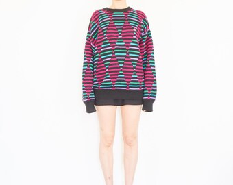 80s Neon Lights Ribbed Sweater / Geometric Op Art Jumper
