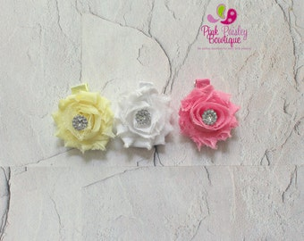Shabby Baby Hair Clips - Set of 3 Shabby Chic Clips-  Baby Hair clips - Baby Hair Bows - Infant Hair clips - Baby hair accessories