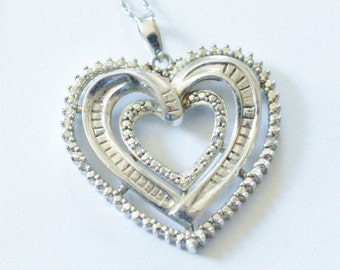 SALE Vintage Sterling Silver Diamond Accent Style Large Heart Pendant Necklace