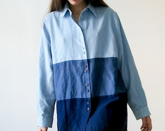 "Vintage 80s ""Shades of Blue"" color block soft button up shirt size MEDIUM"