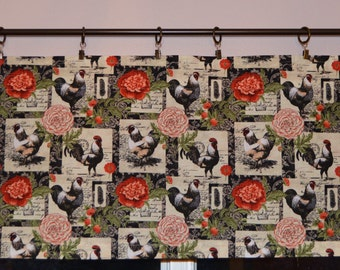 Kitchen Valance . Floral Patch French Rooster Valance . Country French . Custom Curtains  . Handmade by Pretty Little Valances