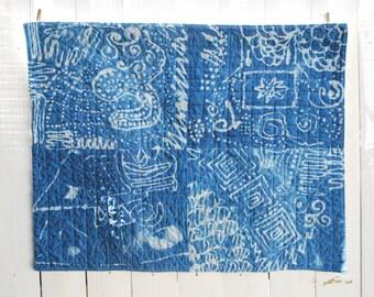 Organic Hand Dyed Batik Quilt - Hand Dyed Indigo Quilt, OOAK Fiber Art Batik Quilt, Indigo Wall Hanging