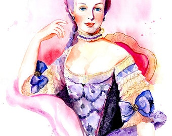 Watercolor Portrait Painting - Marie Antoinette - Rococo, 18th Century Fashion